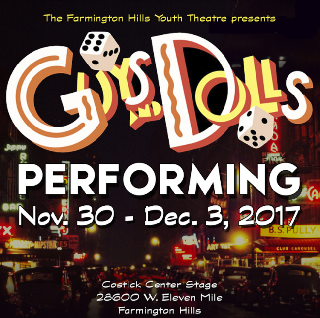Youth Theatre Performs Guys and Dolls on the Costick Center Stage Nov. 30 – Dec. 3